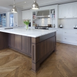 Access Flooring: European Oak in Herringbone Pattern Stained