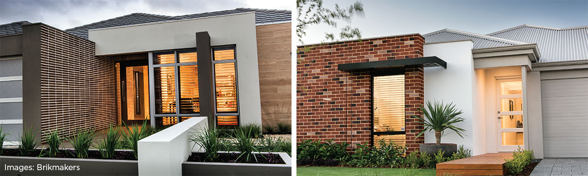 a feature wall in an alfresco area can be mirrored with a similar brick colour or pattern in a nearby living room to create an instant connection with the