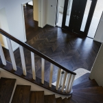 Access Flooring: French Oak in Parquetry Fishbone Pattern Stained Black