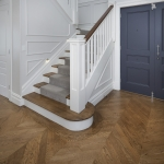 Access Flooring: French Oak in Herringbone Pattern Stained