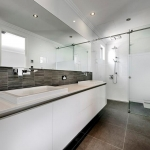 Direct Glass: 10mm Frameless Custom Made Shower with Opaque Film Band to Door and Slimline Framed Mirror