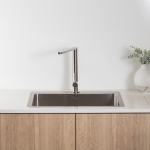 Oliveri Solutions: Sonetto Sink and Essente Right Angle Stainless Steel Mixer